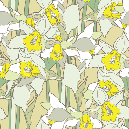 pink plumeria: Elegance Seamless pattern with daffodils vector floral illustration in vintage style
