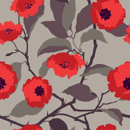 Elegance Seamless pattern with flowers roses floral vector illustration in vintage style Illustration