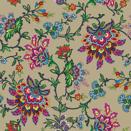 빈티지 스타일의 장식 벡터 꽃 일러스트와 함께 우아한 원활한 패턴