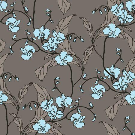 エレガンス花蘭がシームレスなパターン ベクトル ビンテージ スタイルの花のイラスト  イラスト・ベクター素材