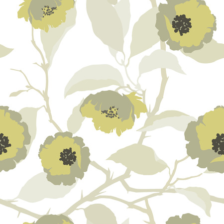 contrast floral: Elegance Seamless pattern with flowers roses, floral vector illustration in vintage style Illustration