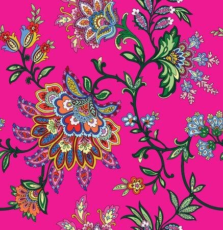 pink plumeria: Elegant Seamless pattern with ornament, vector floral illustration in vintage style Illustration