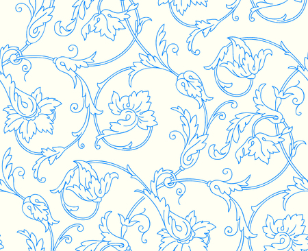 Elegance Seamless pattern with flowers orchids, vector floral illustration in vintage style