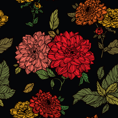 aster: Elegance Seamless pattern with dahlias flowers, vector floral illustration in vintage style