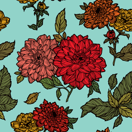 vintage floral pattern: Elegance Seamless pattern with dahlias flowers, vector floral illustration in vintage style