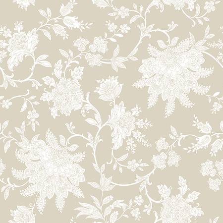 Elegance Seamless pattern with flowers roses, floral vector illustration in vintage style Çizim