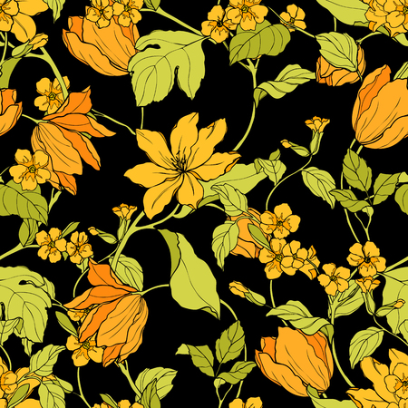 eglantine: Elegant Seamless pattern with flowers Magnolia and tulips, vector floral illustration in vintage style