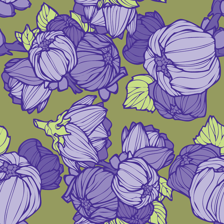 Elegance Seamless pattern with lupins, floral illustration in vintage style