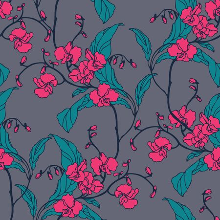 pink plumeria: Elegance Seamless pattern with flowers orchids, vector floral illustration in vintage style