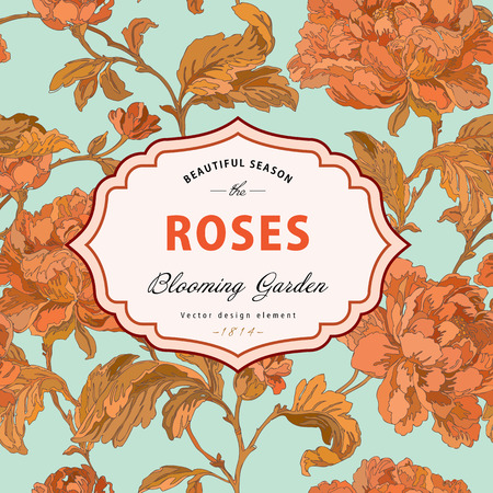 Vintage vector frame. Garden and wild roses. In the style of an old botanical illustration. Illustration