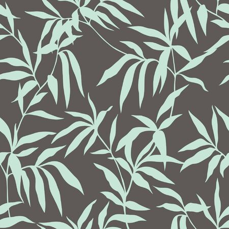 Seamless pattern with leafs ornament, floral illustration in vintage style