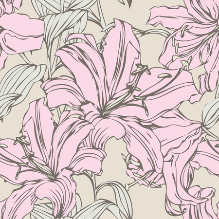Elegance Seamless pattern with lily ornament, floral illustration in vintage style Çizim