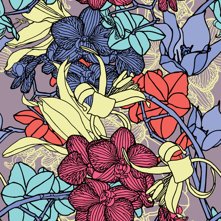 Orchids flowers pattern