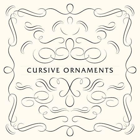 cursive: Cursive ornaments pattern Illustration