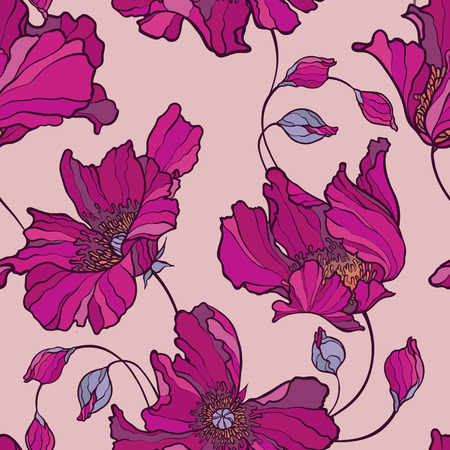 Seamless pattern with poppy, Peonies or roses flowers Illustration