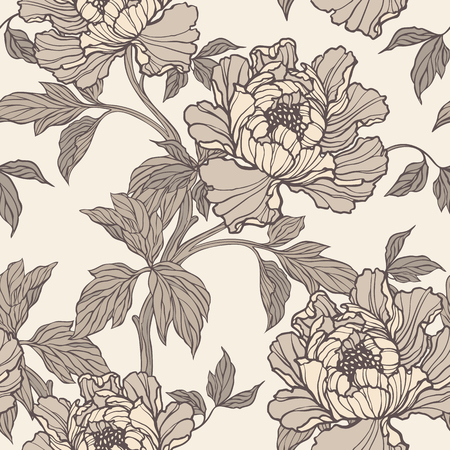 Elegance Seamless pattern with peonies or roses flowers
