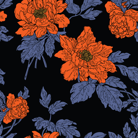 Seamless pattern with poppy, Peonies or roses flowers Çizim
