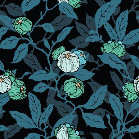 Patrón floral sin fisuras. Flores ornamentales abstractas. Fondo de hojas florecientes