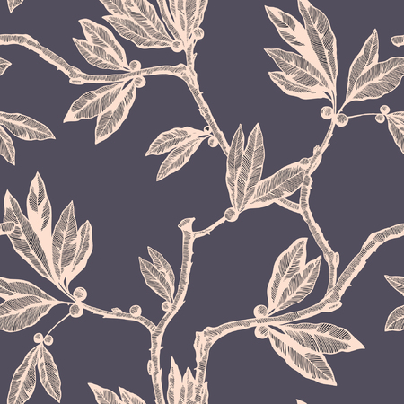 Seamless pattern with leaf ornament Vetores