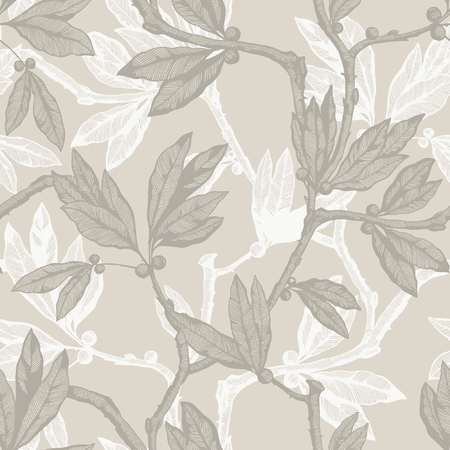 Seamless pattern with leaf ornament
