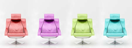 Four multi-coloured armchairs