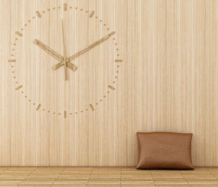 wood clock on a wooden wall Stock Photo