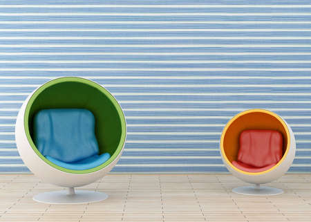 Two hi-tech armchair and blue wallpaper