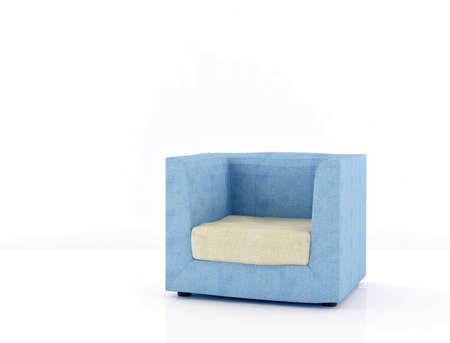 blue chair skinned white cloth on the floor Stock Photo
