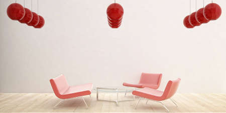 three red chairs and red glass ceiling lamps Stock Photo