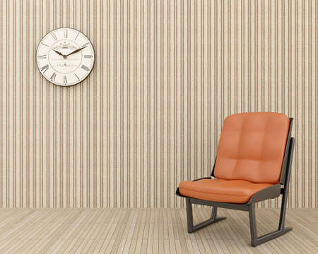 clock on the wall and a chair with a leather steering