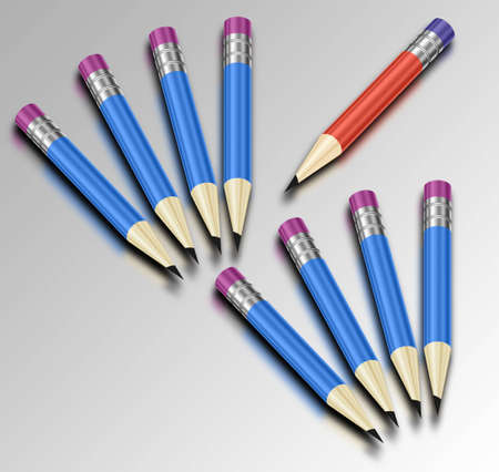 eight blue and one red pencil Stock Photo