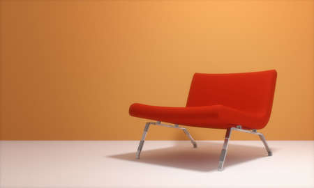 red armchair and orange wall