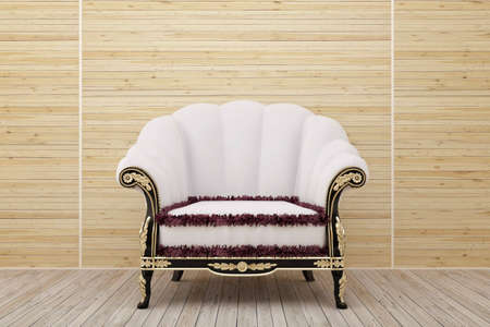 Armchair in the wooden room Stock Photo