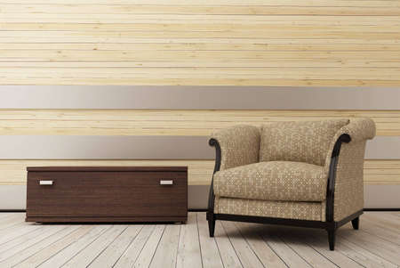 Armchair in the wooden room_2 Stock Photo