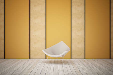 a steel chair in the room with wooden floors Stock Photo