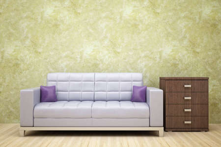 leather sofa beside the locker of dark wood Stock Photo - 6358732