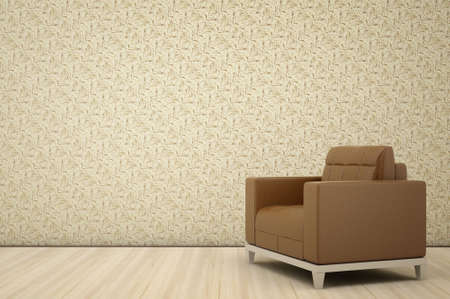 leather chair against a background of textured wallpaper Stock Photo