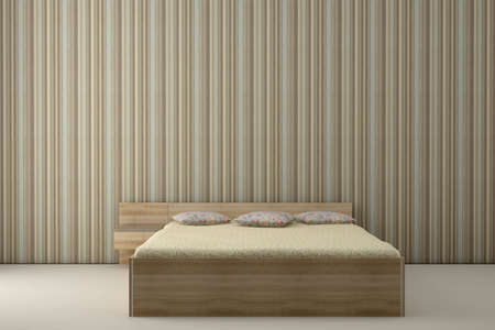 bedroom and striped wallpaper Stock Photo