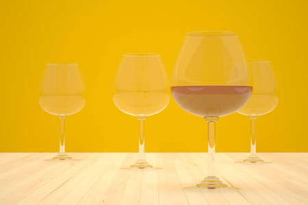 four glass cups on the floor Stock Photo