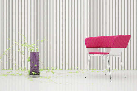 easy chair with a red back in the room with a mirrored floor and a vase of purple glass Stock Photo - 7603890