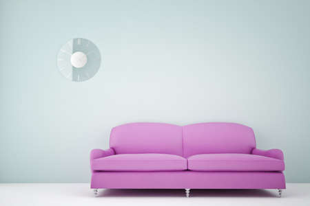 purple leather couch in a room with glass clock Stock Photo