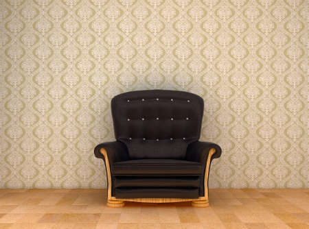 black leather chair in a room with old green wallpaper on the wall