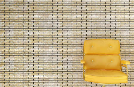 yellow chair against a brick wall