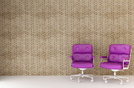 two purple chairs against a brick wall