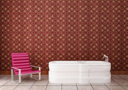 purple leather chair in an old bathtub Stock Photo