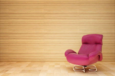 red armchair in the wooden room Stock Photo