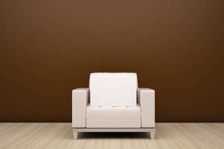 chair and an empty white box Stock Photo