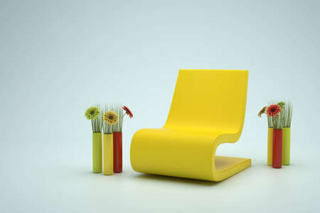 yellow leather chair and flowers