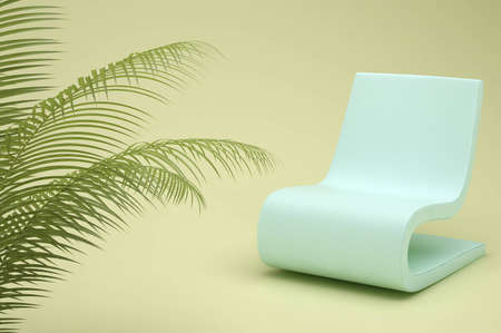 turquoise chair in a room with soft light and a potted plant