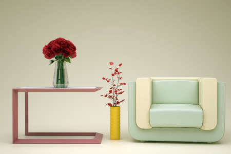 beige green armchair in the room with flowers Stock Photo